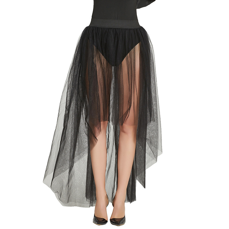 2021 New Design Sheer One Layer Black Maxi Sexy Skirt See Through Women Black Long Tulle Skirts