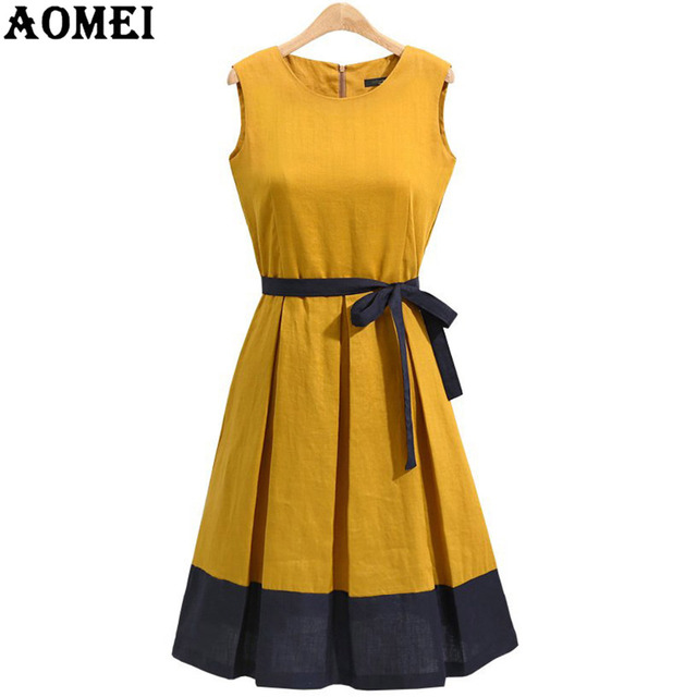 44eec5eca6 Woman Summer Sundress Pleated Casual Green Plus Size Office Work Wear Swing  Linen Dress Sleeveless Vestidos Robe 3XL XXL Tunics