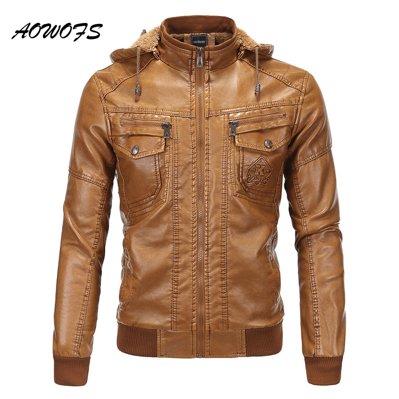 AOWOFS Hooded Leather <font><b>Bomber</b></font> <font><b>Jacket</b></font> Men Winter Warm Faux Sheepskin <font><b>Bomber</b></font> <font><b>Jackets</b></font> Mens Quilted Leather <font><b>Jacket</b></font> Brown Biker Coat