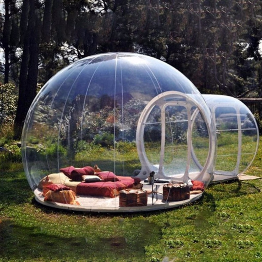 PVC Transparent Viewing Inflatable Outdoor Camping Tent Clear Single Tunnel Bubble House Camping Tent For Trade Show New wonderful cube led inflatable tent inflatable trade show house inflatable photo booth toy tent