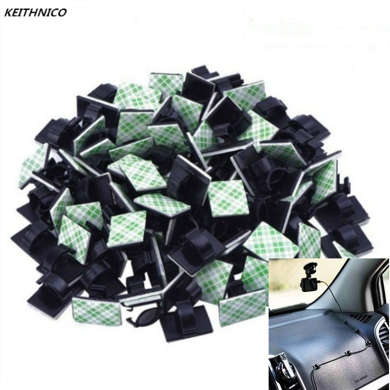 KEITHNICO 50pcs <font><b>Adhesive</b></font> <font><b>Car</b></font> <font><b>Cable</b></font> <font><b>Organizer</b></font> <font><b>Clips</b></font> <font><b>Cable</b></font> Winder Wire Management Drop Cord Clamp Tie Fixer <font><b>Car</b></font> <font><b>Cable</b></font> Holder image