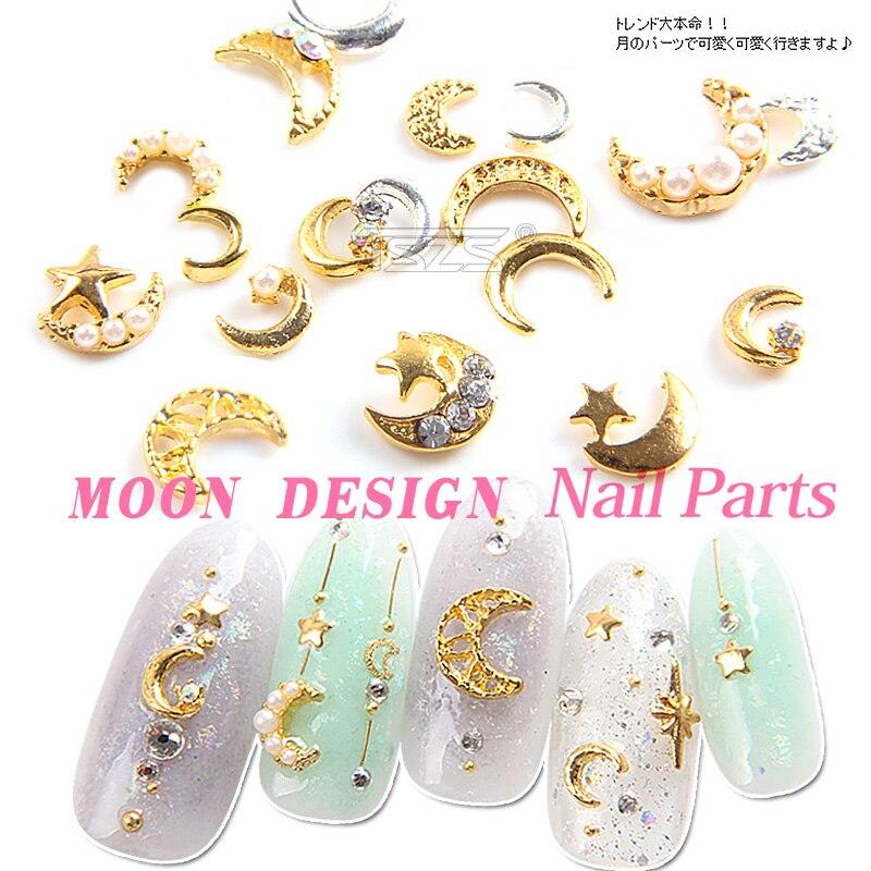 10 шт./лот, изящные украшения для ногтевого дизайна из золотистого/серебристого сплава со стразами и жемчугом