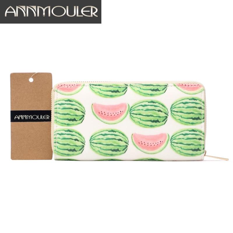 Designer Portemonnee voor vrouwen Kunstleer Portefeuilles Hoge kwaliteit Watermeloen Print Portemonnee Lange grootte Clutch Handtas Leuke lederen tas