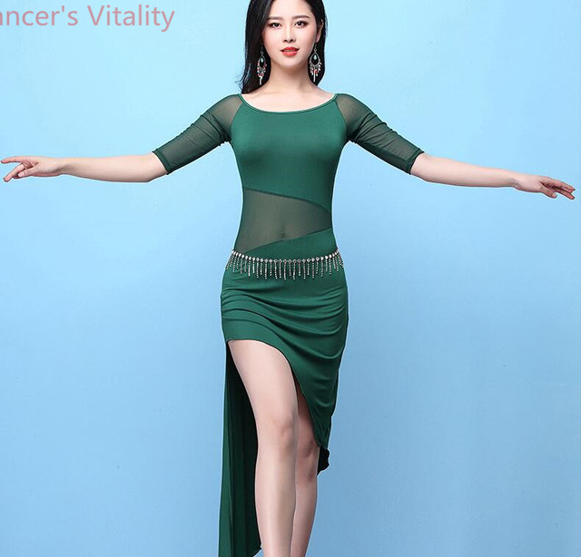 Short Sleeves Dress for Women Belly Indian Dance Cut out Suit Girls Lady Belly Sexy Perspective Dancewear Competition Practice