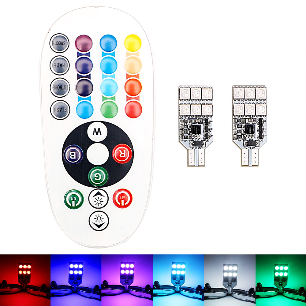 2 Piece <font><b>T10</b></font> Automobile Atmosphere Light <font><b>16</b></font> Colors <font><b>LED</b></font> Car Side Wedge Light Dome Reading Lamp SMD 5050 RGBW W5W Remote Control image