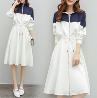 Spring and summer new style French long splicing dress Loose large size slim sports and leisure dress