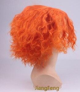 Image 2 - Movie Alice in Wonderland 2 Mad Hatter Cosplay Wigs Tarrant Hightopp Orange Short  Heat Resistant Synthetic Hair Wig + Wig Cap