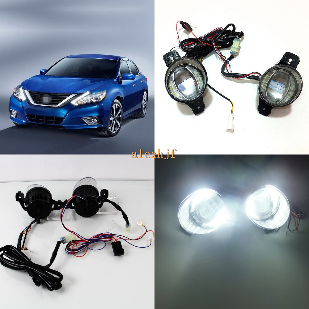 July King 1600LM 24W 6000K LED Light Guide Q5 Lens Fog Lamp+1000LM 14W Day Running Lights DRL Case for Nissan Altima Teana 2007+ for opel astra h gtc 2005 15 h11 wiring harness sockets wire connector switch 2 fog lights drl front bumper 5d lens led lamp