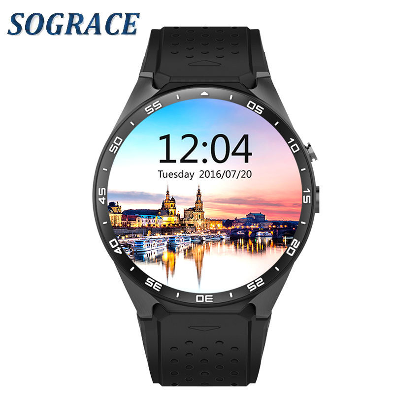 Sograce KW88 3G WIFI Smartwatch Cell Phone Bluetooth Smart Watch SIM Card GPS Camera Heart Rate Monitor for IOS and Android celiadwn smart watch android 5 1 smartwatch phone 3g mtk6580 512mb 4gb with 2 0 camera wifi gps sim card clock vs x200 dm98