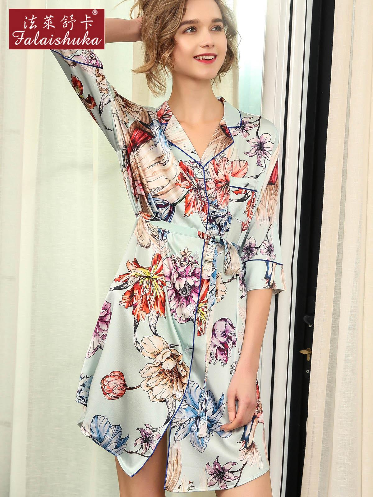 88830900b9cf8 Цифровая живопись свежих цветов сексуальные натуральной шелковицы шелковая  ночная рубашка женщины натуральный шелк Элегантные ...