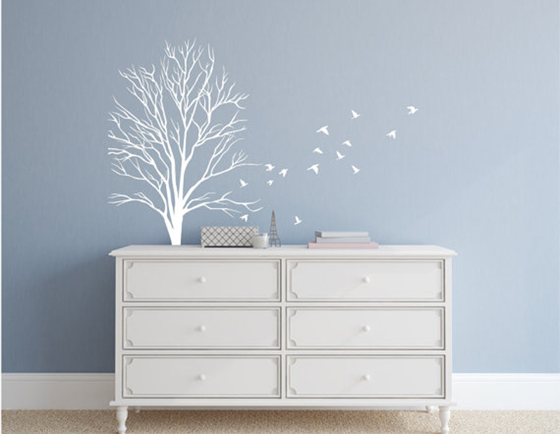 Tree Wall Sticker With Flock Of Flying Birds Tree Branches fall Vinyl Home Decor Living Room Removable Mural Art Office F781