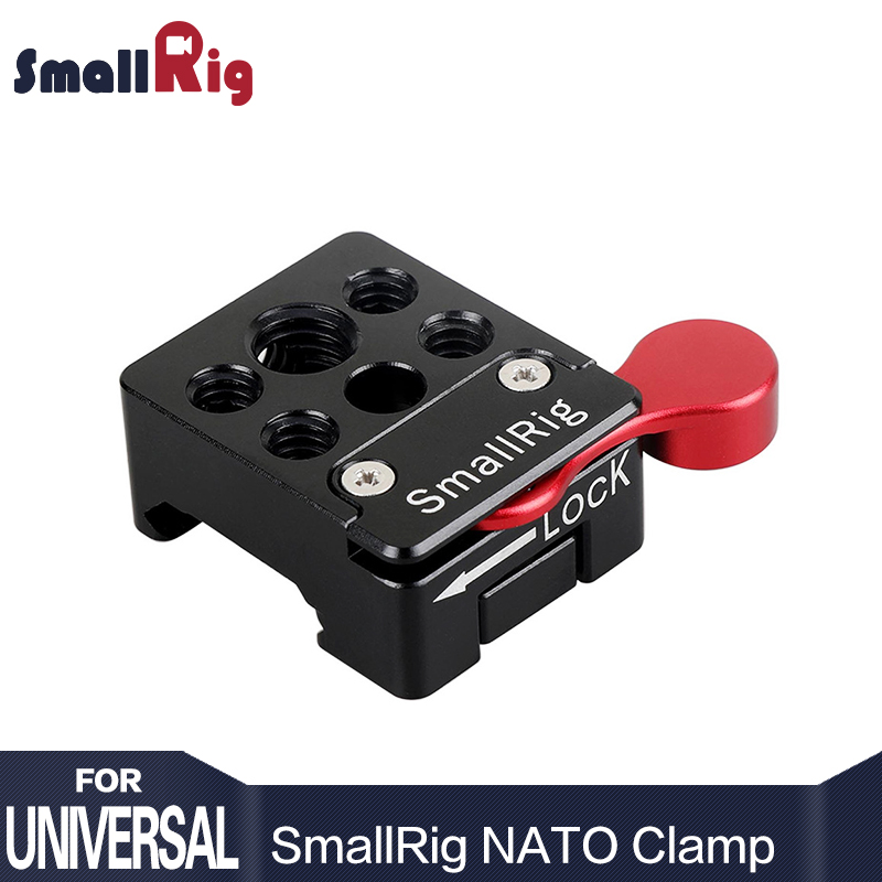 SmallRig NATO Clamp with a Red Locking Lever Allows to Mount a Cold Shoe Aluminum Material With 1/4 3/8 thread holes - 1885