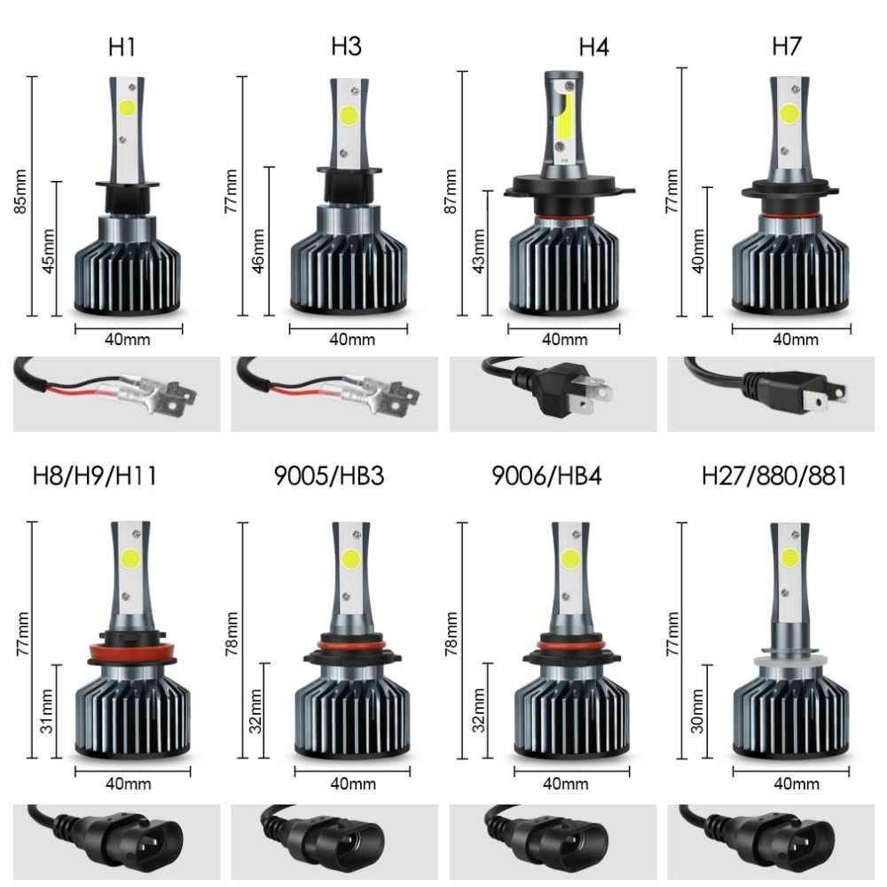 2pcs H4 H7 LED H1 H3 H8 H9 H11 HB3 9005 HB4 9006 LED Car Headlight Bulbs H27 880 881 8000LM 72W COB Chips Auto Headlamp 12V 24V