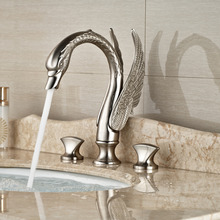 Brand New Nickel Brushed Bathroom Sink Basin Mixer Taps Swan Shape Dual Handle Lavatory Sink Faucet