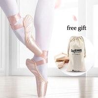 Женские атласные балетки, балетные пуанты, обувь для девочек, женская обувь с бесплатной сумкой для обуви