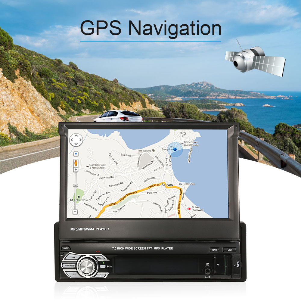 7inch Universal Car Stereo Radio Player MP5 Player GPS Navigation Retractable with Bluetooth FM USB SD-in Car Multimedia Player from Automobiles & Motorcycles    1