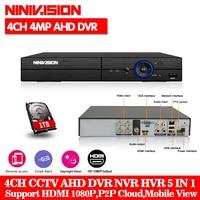 NINIVISION 4CH AHD 4MP DVR/Hybrid 2*Analog 4M+2*IP 4MP Motion Detection 5 IN 1 CCTV DVR for AHD CVI TVI IP 2MP 3MP 4MP Camera