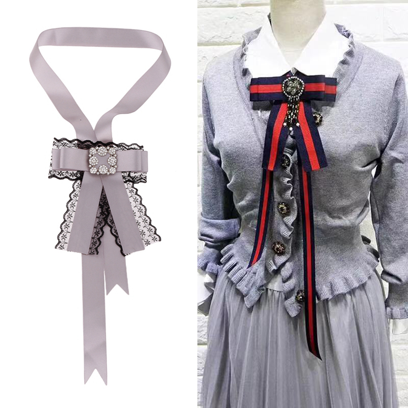 US $3 61 33% OFF Junlead Fashion Unique Design Collar extra Large Brooch  Jewelry DIY belt Lace Fabric Bow Long Ribbon Brooch pins For Women Dress-in