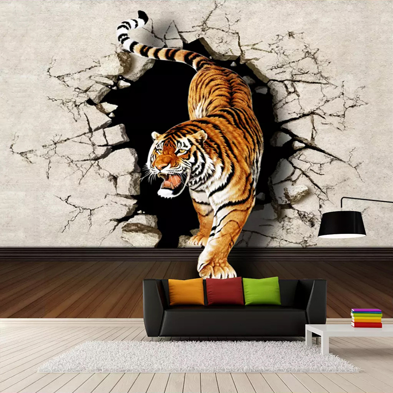 Custom Photo Wallpaper Modern 3D Stereoscopic Tiger Breaking Wall Large Wall Painting Living Room Sofa Background Mural Picture