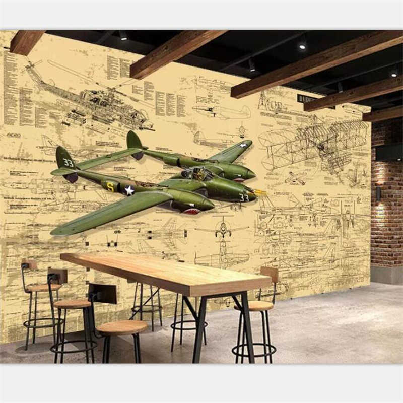 beibehang Wallpaper custom home decoration photo hand-painted retro airplane drawings industrial wind bar restaurant mural