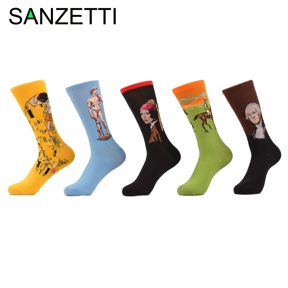 SANZETTI 5 pair/lot Mens Funny Socks Oil Painting Pattern Breathable Cool Crew Combed Cotton Long Socks size 7.5-10 Novel Gift