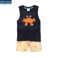 Wholesale 6set Summer Baby Boys Clothes Kids Sleeveless Clothing Set Toddler Boys Sleeveless T Shirts Children