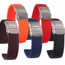 Buy 2 get 20% off) New fashion Silicone Rubber 18/20/22/24mm Solid Red/Black/brown Watch Army Military watchbands Strap Bands