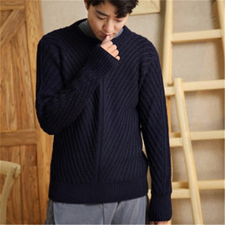 new fashion 100% hand made pure wool Oneck knit men solid H-straight loose pullover sweater one&over size
