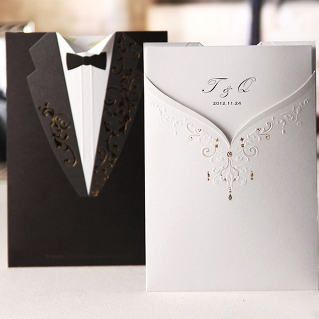 2016 New Arrival Carte D Invitation Bride Groom Wedding Invitations With Free Envelope Blank