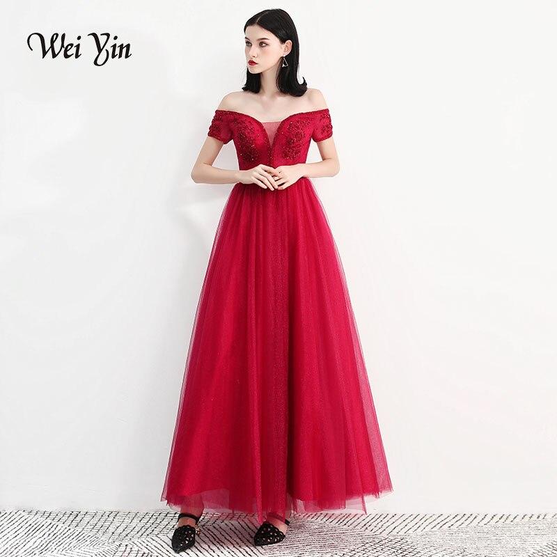 weiyin Tulle With Crystal   Evening     Dress   Vestido De Festa V-Neck Straight   Evening     Dresses   Long   Dress   Robe De Soiree WY729