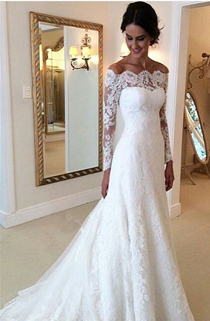 907a082e44a1 Amazing Design Long Lace Sleeves Boat Neck Mermaid Wedding Dress Custom  Made Appliques Wedding Gown