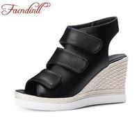 Women Sandals High Heels Platform Wedge Sandals Brand Women Shoes Slingback Leather Ladies Casual Dress Shoes