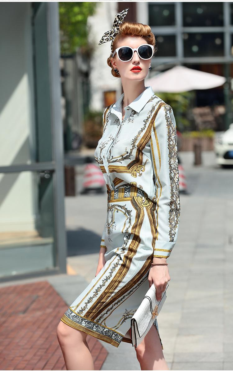 Designer Runway Suit Set Women's Sets Long Sleeve Shirt Tops + Print Skirt suit 2 Two piece set 2