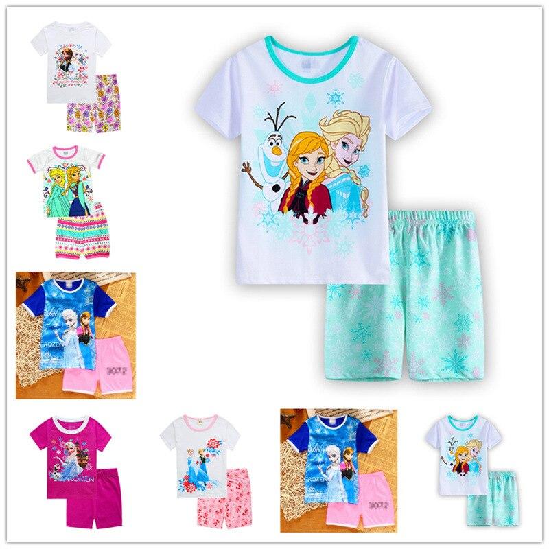 100 Cotton Anna Elsa Baby Girls Pajamas Set Brand Knit