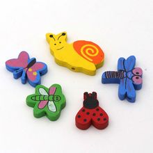 40pcs/lot Mixed Color Cartoon Dragonfly Butterfly Wood Bead Loose Spacer For Jewelry Finding  Kids DIY Handmade Toys Accessories