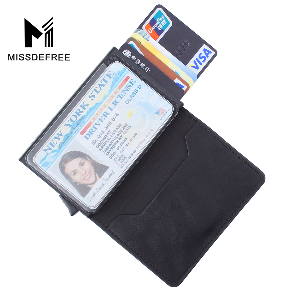 Slim Wallet For Men Automatic Pop Up Credit Card Holder With ID Window Drivers License MetroPass RFID Blocking PU Leather Wallet