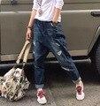 Мода Хип Поп Denim Шаровары Женщины Рваные Джинсы Темно-Синий Проблемные Boyfriend Джинсы Капри Брюки