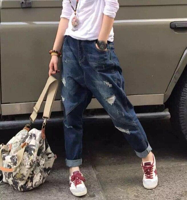ФОТО Fashion Hip Pop Denim Harem Pants Women Ripped Jeans Dark Blue Distressed Boyfriend Jeans Capris Trousers