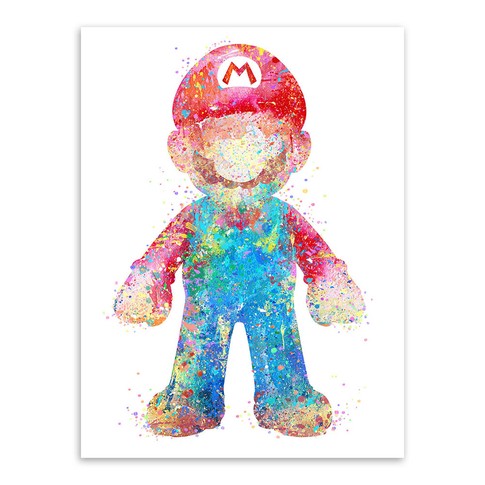 Game with watercolor - Aliexpress Com Buy Original Watercolor Super Mario Japanese Game Poster Print Abstract Picture Kids Room Wall Art Decor Canvas Painting No Frame From