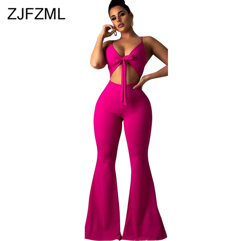 Waist Band Cut Out Sexy Bodycon   Jumpsuits   Women Spaghetti Strap Tie Up Wide Leg Playsuit Summer Backless Zipper Up Club Romper