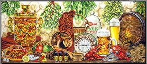 Image 1 - Gold Collection Counted Cross Stitch Kit OK Russian Bath Wine Beer Lobster Gourmet Cuisine Food Tradition