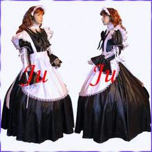 Free Shipping Sexy Sissy Maid Satin Dress Uniform Cosplay Costume Tailor-made