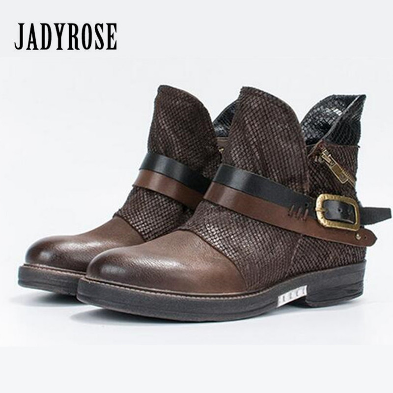 Jady Rose 2018 New Ankle Boots for Women Thick Heel Flat Botas Mujer Straps Decor Female Platform Rubber Short Martin Boot jady rose ankle boots for women straps buckle genuine leather autumn boots platform short booties female flat rubber martin boot