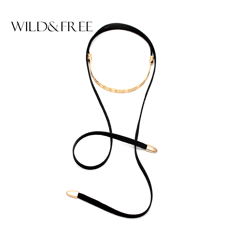 2016 Women Black Suede Choker Necklace With Gold Plated Choker Europe America Fashion Long Rope Pendant Collar Necklace Jewelry