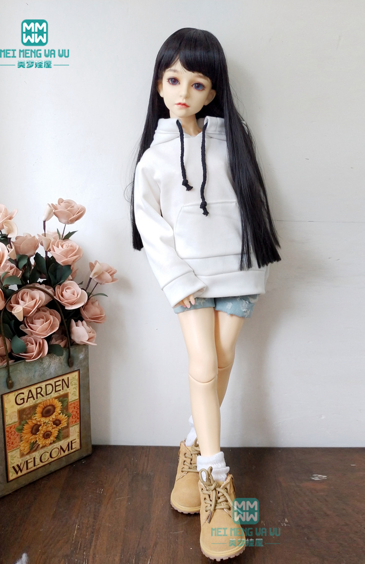 BJD Accessories Doll Clothes Fits 60cm 1/3 BJD SD Doll Fashion White Casual Sweatshirt Denim Shorts