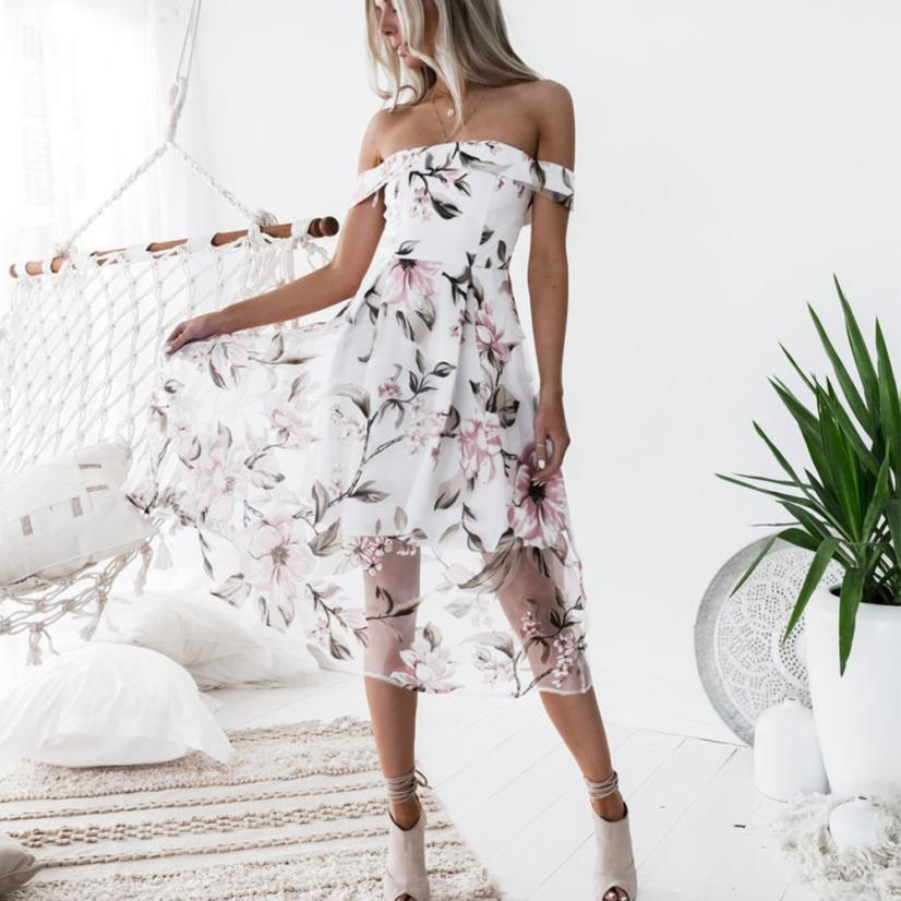 New 2018 Off Shoulder Floral Printed Dress Fashion Women Summer Evening Party Long dresses Vestidos Cloth Free Shipping #LM7945