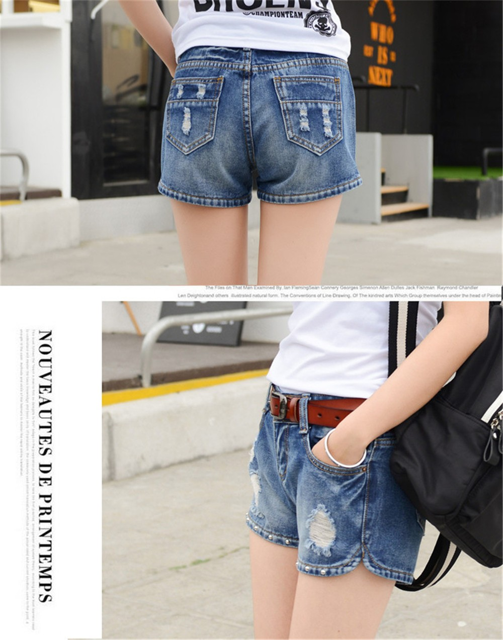 Mainland Retro Mid waist Women Short Jeans Woman Denim Female Wild Short-Pants Summer Loose Short Fashion Plus size Short jeans  (8)