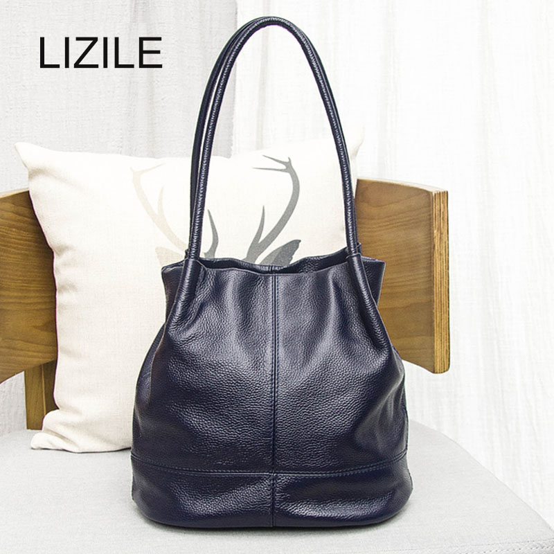 Genuine leather Women's Shoulder Bags 2017 Fashion Casual Handbag Messenger Bag With Cowhide/Polyester Leather Bucket Bag