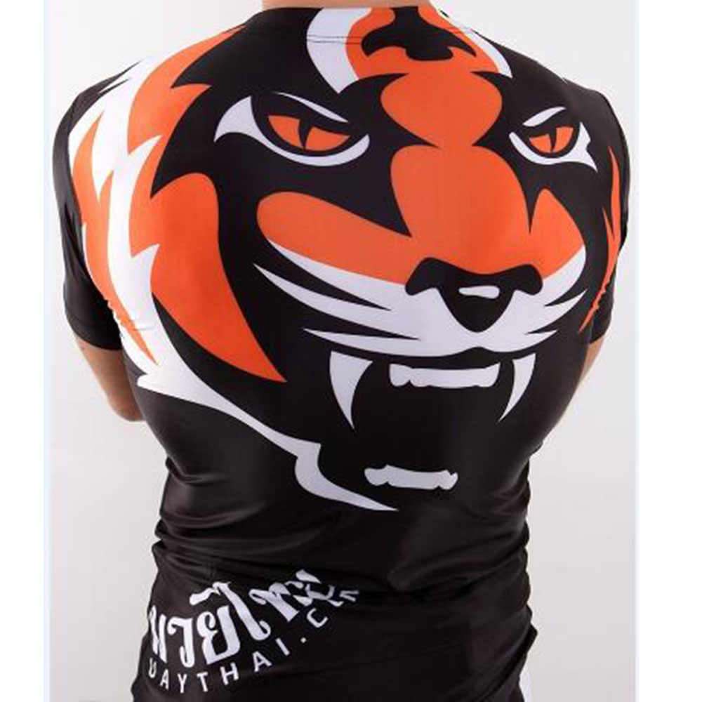 قميص الملاكمة بأكمام قصيرة مطبوع عليه النمر من أزياء الملاكمة التايلاندية جيو جيتسو ، قميص رياضة اللياقة البدنية ووشو ساندا ، ملابس القتال Mma