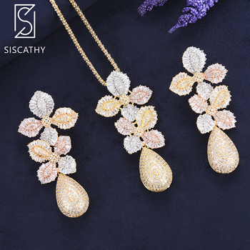 Siscathy Luxury Indian Leaves Gold Pendant Necklace Drop Dangle Earrings Fashion Jewelry Set Wedding Jewelry Earrings For Women